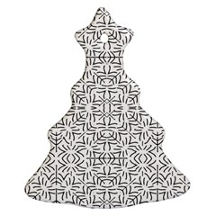 Black And White Ethnic Geometric Pattern Ornament (christmas Tree)  by dflcprints
