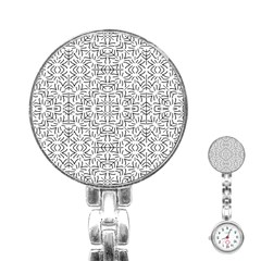 Black And White Ethnic Geometric Pattern Stainless Steel Nurses Watch by dflcprints