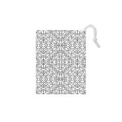 Black And White Ethnic Geometric Pattern Drawstring Pouches (xs)  by dflcprints