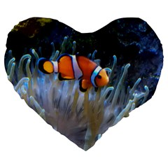 Clownfish 2 Large 19  Premium Flano Heart Shape Cushions by trendistuff