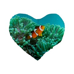 Clownfish 3 Standard 16  Premium Flano Heart Shape Cushions by trendistuff