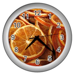 Oranges 5 Wall Clocks (silver)  by trendistuff