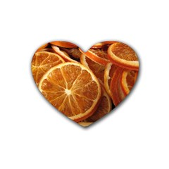 Oranges 5 Rubber Coaster (heart)  by trendistuff