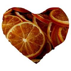 Oranges 5 Large 19  Premium Heart Shape Cushions by trendistuff