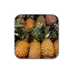 Pineapple 1 Rubber Square Coaster (4 Pack)  by trendistuff