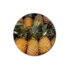 Pineapple 1 Rubber Round Coaster (4 Pack)  by trendistuff