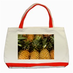 Pineapple 1 Classic Tote Bag (red) by trendistuff