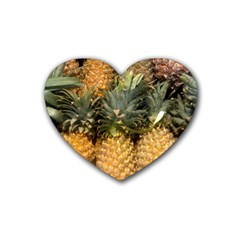 Pineapple 1 Rubber Coaster (heart)  by trendistuff