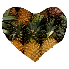Pineapple 1 Large 19  Premium Heart Shape Cushions by trendistuff