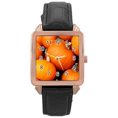 Pumpkins 1 Rose Gold Leather Watch  by trendistuff