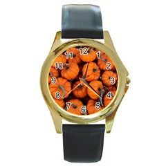 Pumpkins 2 Round Gold Metal Watch by trendistuff