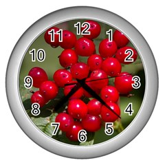 Red Berries 2 Wall Clocks (silver)  by trendistuff