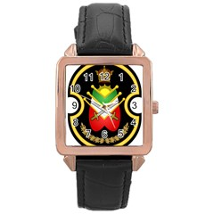 Shield Of The Imperial Iranian Ground Force Rose Gold Leather Watch  by abbeyz71