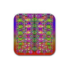 Flower Wall With Wonderful Colors And Bloom Rubber Square Coaster (4 Pack)  by pepitasart