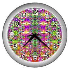 Flower Wall With Wonderful Colors And Bloom Wall Clocks (silver)  by pepitasart