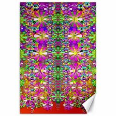 Flower Wall With Wonderful Colors And Bloom Canvas 12  X 18   by pepitasart