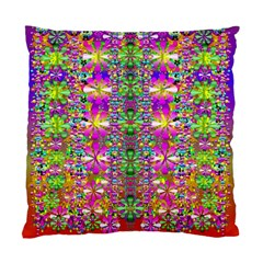 Flower Wall With Wonderful Colors And Bloom Standard Cushion Case (two Sides) by pepitasart