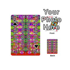 Flower Wall With Wonderful Colors And Bloom Playing Cards 54 (mini)  by pepitasart