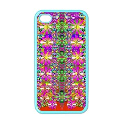 Flower Wall With Wonderful Colors And Bloom Apple Iphone 4 Case (color) by pepitasart