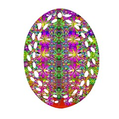 Flower Wall With Wonderful Colors And Bloom Oval Filigree Ornament (two Sides) by pepitasart