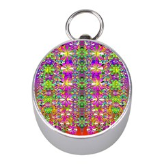 Flower Wall With Wonderful Colors And Bloom Mini Silver Compasses by pepitasart