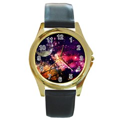 Letter From Outer Space Round Gold Metal Watch by augustinet