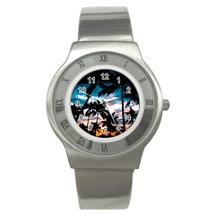 Palm Trees Summer Dream Stainless Steel Watch by augustinet