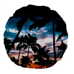 Palm Trees Summer Dream Large 18  Premium Round Cushions by augustinet