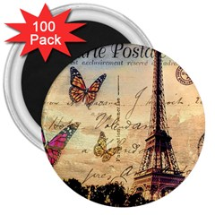 Vintage Paris Carte Postale 3  Magnets (100 Pack) by augustinet