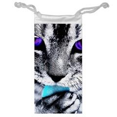 Purple Eyes Cat Jewelry Bag by augustinet