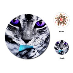 Purple Eyes Cat Playing Cards (round)  by augustinet