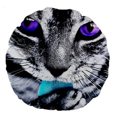 Purple Eyes Cat Large 18  Premium Round Cushions by augustinet