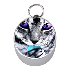 Purple Eyes Cat Mini Silver Compasses by augustinet