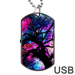 Star Field Tree Dog Tag Usb Flash (two Sides) by augustinet