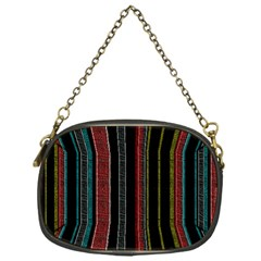 Multicolored Dark Stripes Pattern Chain Purses (one Side)  by dflcprints
