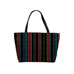 Multicolored Dark Stripes Pattern Shoulder Handbags by dflcprints