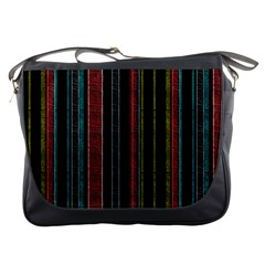 Multicolored Dark Stripes Pattern Messenger Bags by dflcprints