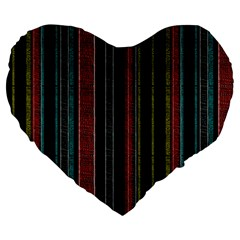 Multicolored Dark Stripes Pattern Large 19  Premium Heart Shape Cushions by dflcprints