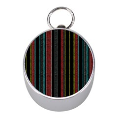 Multicolored Dark Stripes Pattern Mini Silver Compasses by dflcprints