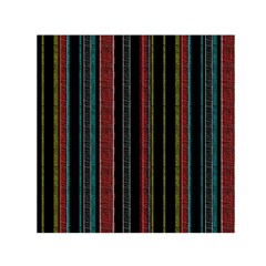 Multicolored Dark Stripes Pattern Small Satin Scarf (square) by dflcprints