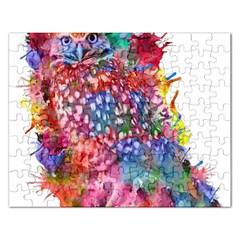 Rainbow Owl Rectangular Jigsaw Puzzl by augustinet