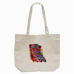 Rainbow Owl Tote Bag (cream) by augustinet
