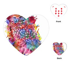 Rainbow Owl Playing Cards (heart)  by augustinet