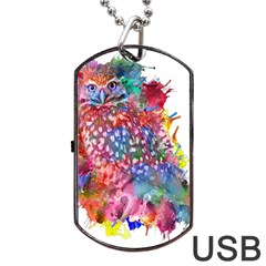 Rainbow Owl Dog Tag Usb Flash (two Sides) by augustinet
