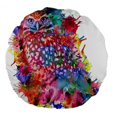 Rainbow Owl Large 18  Premium Round Cushions by augustinet