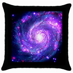 Ultra Violet Whirlpool Galaxy Throw Pillow Case (black) by augustinet