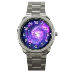 Ultra Violet Whirlpool Galaxy Sport Metal Watch by augustinet