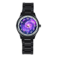 Ultra Violet Whirlpool Galaxy Stainless Steel Round Watch by augustinet