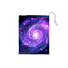 Ultra Violet Whirlpool Galaxy Drawstring Pouches (small)  by augustinet