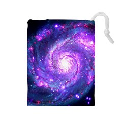 Ultra Violet Whirlpool Galaxy Drawstring Pouches (large)  by augustinet